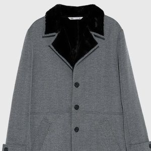 Men's lush Zara coat in herringbone